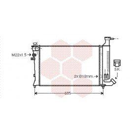 Radiateur Moteur pour Citroen ZX version : 1.6 Avantage - 1.8 Furio - 1.8 / 1.9 Diesel - Bayonet bottom hose de 1993 à 1998