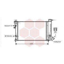 Radiateur Moteur pour Citroen ZX version : 1.6 Avantage - 1.8 Furio - 2.0 8V - 1.8 / 1.9 Diesel - Bayonet bottom hose de 1993 à 1998