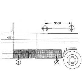 Panneau latéral inférieur arrière pour Mercedes 406/608 jusqu'à 1986