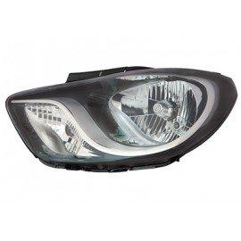 Phare avant gauche avec clignotant Noir H4 + moteur éléctrique pour Hyundai i10 de 2011 à 2013